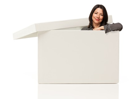 Pretty Multiethnic Woman Standing Inside Blank White Box Isolated on a White Background - Box Ready for Your Own Message. Stock Photo - 7419768