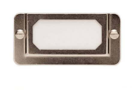Blank Metal File Label Frame Isolated on White Ready for Your Own Message. Stock Photo - 7419980