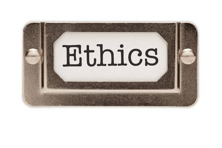 Ethics File Drawer Label Isolated on a White Background. Stock Photo - 7419985