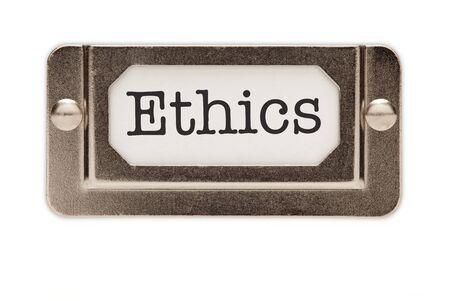 valores morales: Etiqueta de cajones archivos de �tica aislada sobre un fondo blanco.