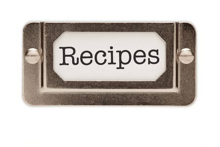 index card: Recipes File Drawer Label Isolated on a White Background.