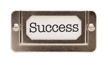 Success File Drawer Label Isolated on a White Background. photo