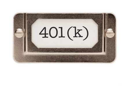 ira: 401(k) File Drawer Label Isolated on a White Background.