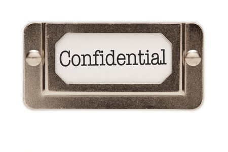Confidential File Drawer Label Isolated on a White Background. Banco de Imagens