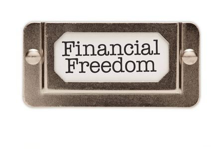 Financial Freedom File Drawer Label Isolated on a White Background. Stock Photo - 7438792