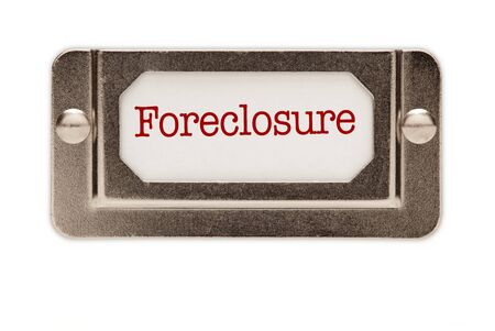 Foreclosure File Drawer Label Isolated on a White Background. photo
