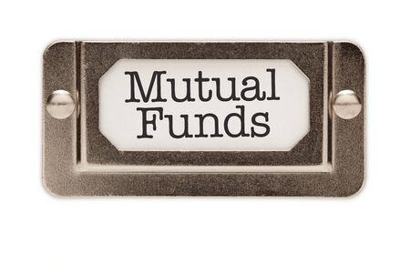Mutual Funds File Drawer Label Isolated on a White Background. photo