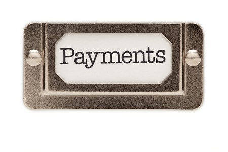 installment: Payments File Drawer Label Isolated on a White Background. Stock Photo