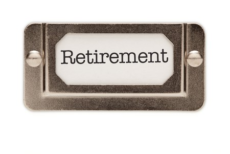 ira: Retirement File Drawer Label Isolated on a White Background.