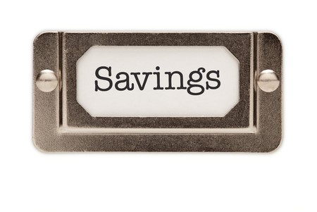 Savings File Drawer Label Isolated on a White Background. photo