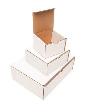 Stack of Blank White Cardboard Boxes, Top Opened, Isolated on a White Background. Stock Photo