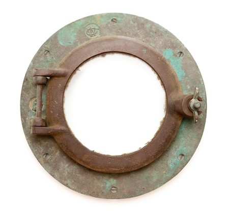 rusty: Aged Antique Ship Porthole Isolated on a White Background with Clipping Path -Inner and Outer. Stock Photo