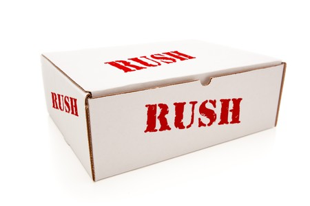delivery room: White Box with the Word Rush on the Sides Isolated on a White Background.