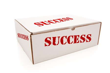 White Box with the Word Success on the Sides Isolated on a White Background.
