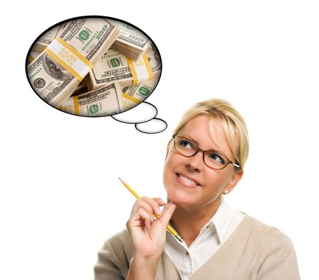 Woman with Thought Bubbles of a Stack of Money Isolated on a White Background.