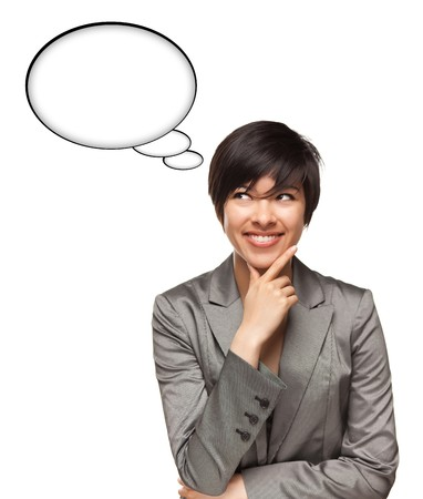 Beautiful Multiethnic Woman with Blank Thought Bubbles Isolated on a White Background - Ready for Your Own Words or Pictures. Stock Photo