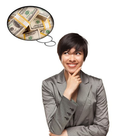 wages: Beautiful Multiethnic Woman with Thought Bubbles of Money Stacks Isolated on a White Background. Stock Photo