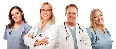 medical laboratory: Set of Smiling Male and Female Doctors or Nurses Isolated on a White Background. Stock Photo