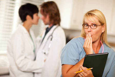 witnesses: Alarmed Medical Woman Witnesses Her Colleagues Inner Office Romance Display.
