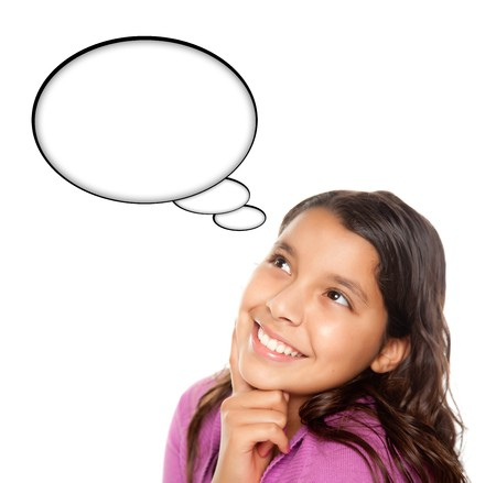 thinking woman: Hispanic Teen Aged Girl with Blank Thought Bubble Isolated on a White Background