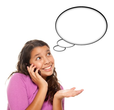 Hispanic Teen Aged Girl on Cell Phone with Blank Thought Bubble Isolated on a White Background  Stock Photo