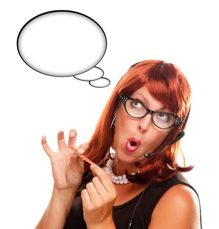 Red Haired Retro ReceptionistRed Haired Retro Receptionist with Blank Thought Bubble Filing Her Nails Isolated on a White Background. photo