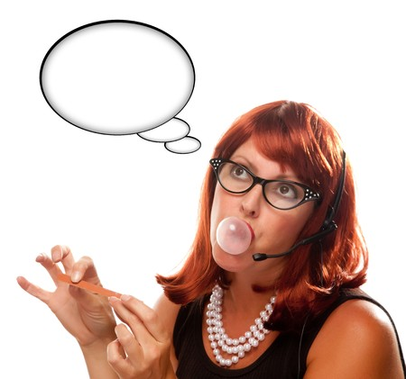 Red Haired Retro Receptionist with Blank Thought Bubble Chewing Gum Isolated on a White Background. photo