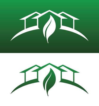 Green House Concept Icons Both Solid and Reversed for Ecology, Recycling, Company, Service or Product. Çizim