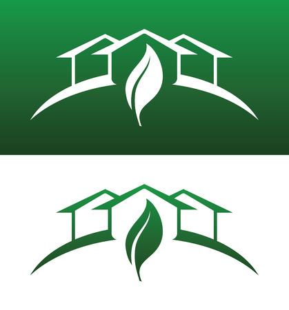 eficacia: Verde casa concepto iconos ambos s�lido y invertida para la ecolog�a, reciclaje, empresa, servicio o producto.  Vectores