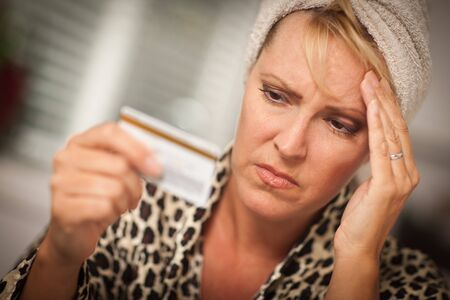 Woman Obviously Very Upset Over Her Credit Card. Stock Photo - 8085185