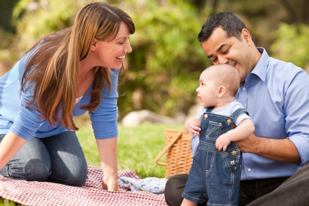 Happy Mixed Race Family Having a Picnic and Playing In The Park. Stock Photo - 8085205
