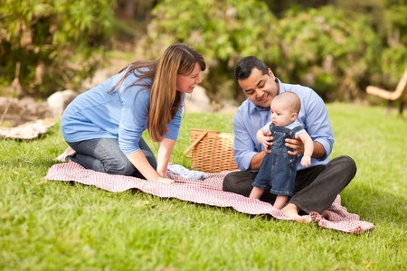 Happy Mixed Race Family Having a Picnic and Playing In The Park. Stock Photo - 8085215