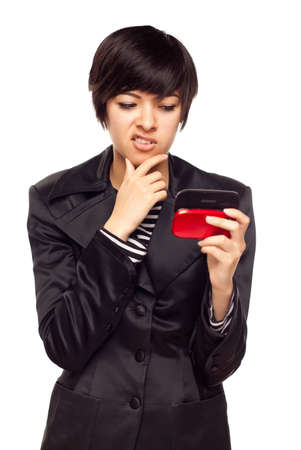 Frustrated Young Mixed Race Woman Looking At Her Mobile Phone Isolated on White.