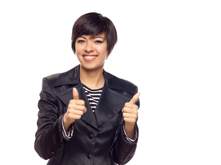 Happy Young Mixed Race Woman With Two Thumbs Up Isolated on a White Background. photo