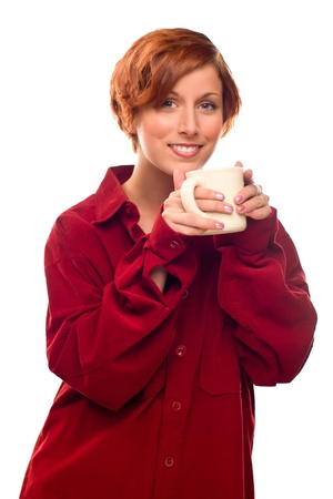 Pretty Red Haired Girl with Hot Drink Mug Isolated on a White Background.