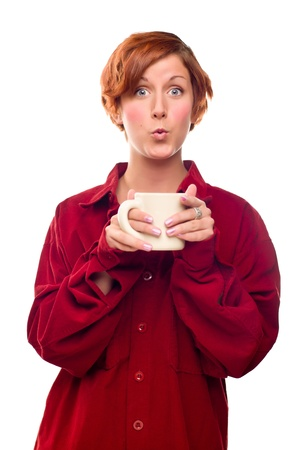Pretty Red Haired Girl with Hot Drink Mug Isolated on a White Background. Stock Photo - 8318687