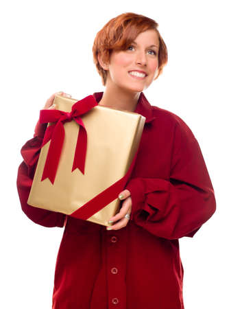 Pretty Red Haired Girl with Wrapped Gift Isolated on a White Background. Stock Photo - 8318692
