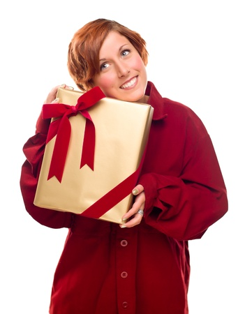 Pretty Red Haired Girl with Wrapped Gift Isolated on a White Background. Stock Photo - 8318685