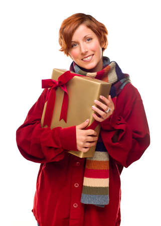 Pretty Red Haired Girl with Scarf Holding Wrapped Gift Isolated on a White Background. Stock Photo - 8318690