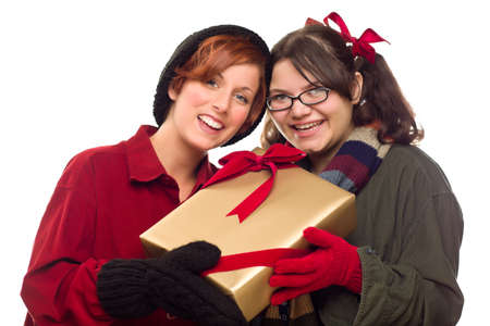 Two Pretty Girlfriends Holding A Holiday Gift Isolated on a White Background. Stock Photo - 8318699