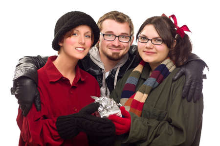 Three Friends Holding A Holiday Gift Isolated on a White Background. Stock Photo - 8318701