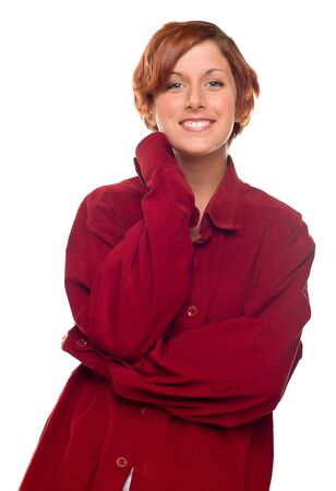 Pretty Red Haired Girl Wearing a Warm Red Corduroy Shirt Isolated on a White Background. Stock Photo - 8318707