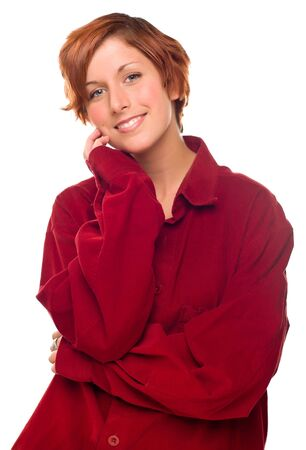 Pretty Red Haired Girl Wearing a Warm Red Corduroy Shirt Isolated on a White Background. Stock Photo - 8318708