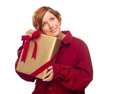 Pretty Red Haired Girl with Wrapped Gift Isolated on a White Background. Stock Photo - 8318706