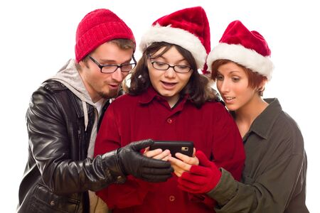 Three Friends Enjoying A Cell Phone Together Isolated on a White Background. Stock Photo - 8318712