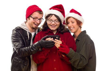 Three Friends Enjoying A Cell Phone Together Isolated on a White Background. Stock Photo - 8318710