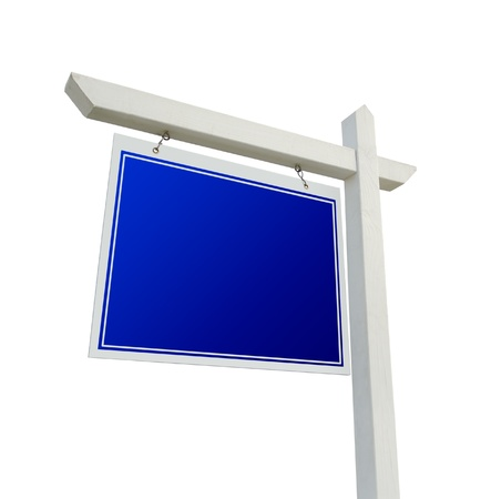 real: Blank Blue Real Estate Sign Isolated on a White Background.