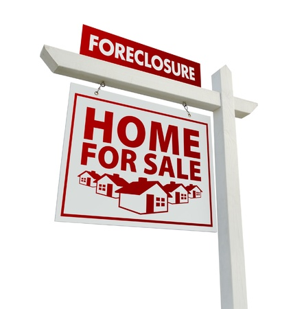repossession: Red Foreclosure Home For Sale Real Estate Sign Isolated on a White Background.