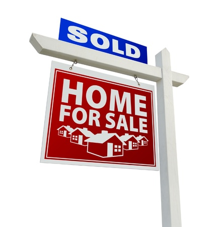 estate: Blue and Red Sold Home for Sale Real Estate Sign Isolated on a White Background.