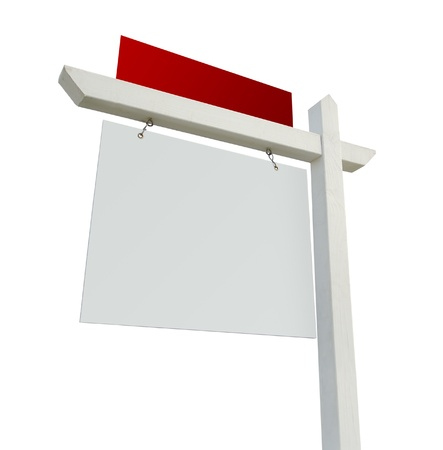 Blank White and Red Real Estate Sign Isolated on a White Background. photo